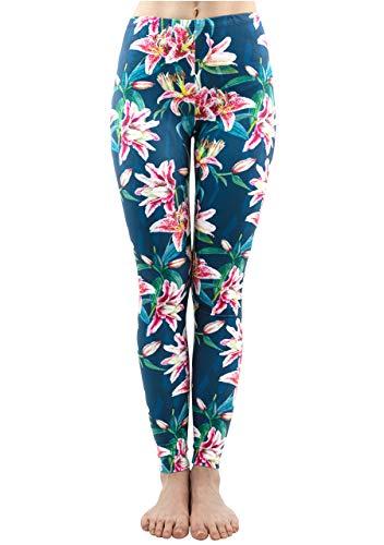 CHIC DIARY Damen bunt Sport Strumpfhose Leggings mit muster Fitness Yoga Joggen Pants Hose Mehrfarbig One size (#51292)