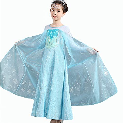 Yeesn Little Girls ELSA Kostüm Maxi-Kleid langärmlig mit Schneemuster, Umhang für Prinzessinnen-Party, Cosplay, ()