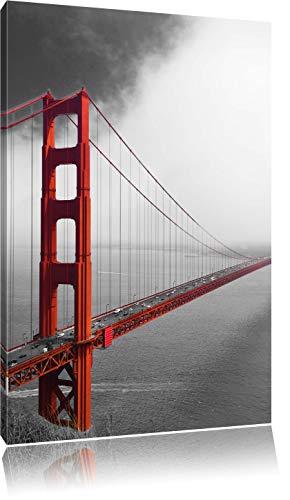 rote Golgen Gate Bridge in San Francisco schwarz/weiß, Format: 60x80 auf hochkantiges Leinwand, XXL riesige Bilder fertig gerahmt mit Keilrahmen, Kunstdruck auf Wandbild mit Rahmen, günstiger als Gemälde oder Ölbild, kein Poster oder Plakat