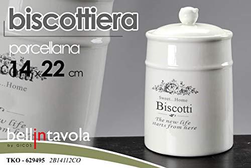 Gicos barattolo contenitore biscottiera in porcellana 14 * 22 cm decoro sweet home tko-629495