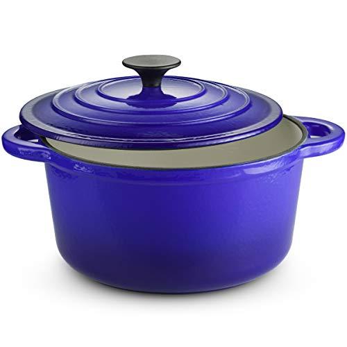 Klee Emaillierter Schmortopf aus Gusseisen mit Deckel - 4 Liter Dutch Oven Schmortopf - Ofenfest Kasserolle mit selbstbrühendem Gusseisen-Deckel - emaillierte Gusseisen-Topf blau