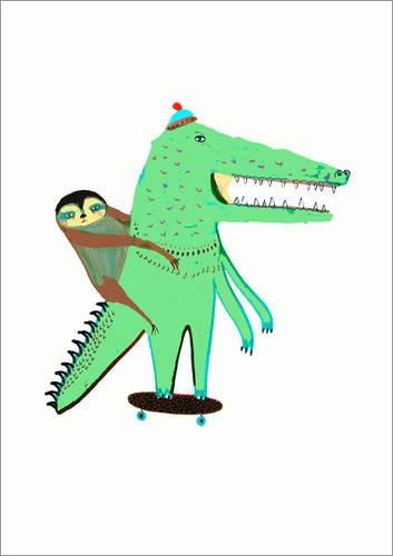 Posterlounge stampa su acrilico 120 x 170 cm: croc skater and sloth di ashley percival