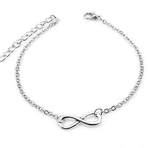 CAOLATOR Infinity Fußkettchen Damen Strand Fußkette Unendlichkeit Verstellbar Armband Knöchel Armband Mädchen Glitzer Spirale Knöchelkette (Farbe: Silber)
