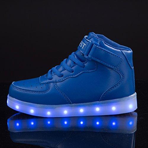 AFFINEST Unisexe chaussures enfant High Top LED chaussures clignotant chaussures de sport pour les enfants belu