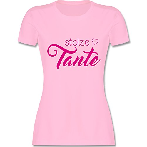 Shirtracer Schwester & Tante - Stolze Tante - Damen T-Shirt Rundhals Rosa