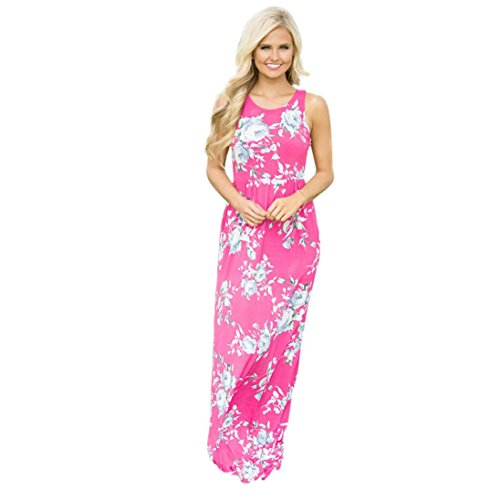 (Damen Kleider Frauen Dress Sommerkleider Vintage Boho Maxikleid Ärmelloses Beiläufiges Strandkleid Blumenkleid Abendkleid Floralen Druck Minikleid Partykleid Cocktailkleid (XL, Sexy Hot Pink ))