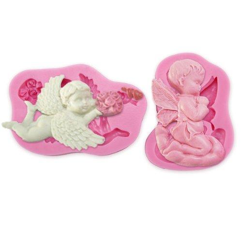 Anladia 2er 3D Effekt Engel Angel Cupido Eros Torten Deko Silikon Ausstechform Ausstecher Marzipan Fondant