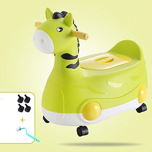 Toilettes pour enfants Siège de Toilette Enfants Unisexe Enfant Facile à Nettoyer Bedpan Bleu Vert 45 * 24 * 43cm (Couleur : Green, Taille : B)