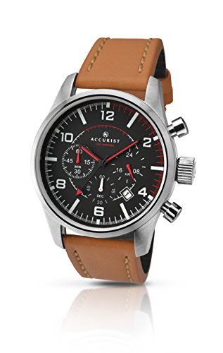 Accurist Men's Quartz Watch with Black Dial Chronograph Display and Brown Leather Strap 7022.01