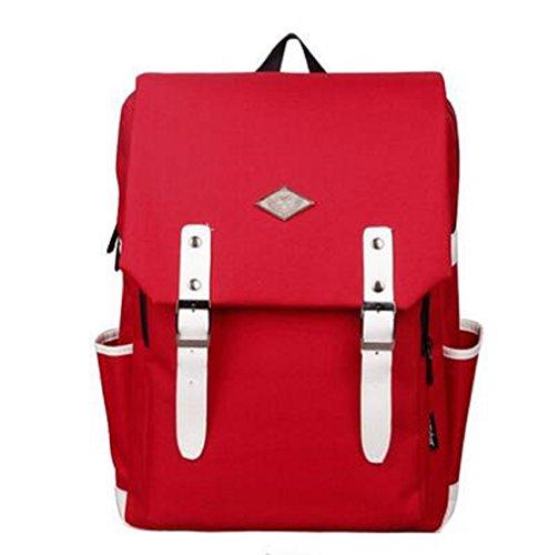 H-Mastery Rucksack Damen Herren Studenten Laptop Rucksack Wasserdichte Tasche Daypacks Schüler Backpacks Schultaschen Rot & Weiß