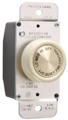 legrand-pass & Seymour 94003lav 1.5-amp maximal Drei Speed Spezifikation Grade Rotary Fan Speed Control Switch Light, Mandel (Rotary Light Switch)