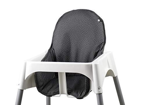 Tinydo® Hochstuhl-Sitzkissen optimal für IKEA Antilop und ähnliche Treppenhochstühle mit Memory-Schaum-Dämpfung Sitzverkleinerer-Auflage für Babystühle rutschfest pflegeleicht (gepunktet)