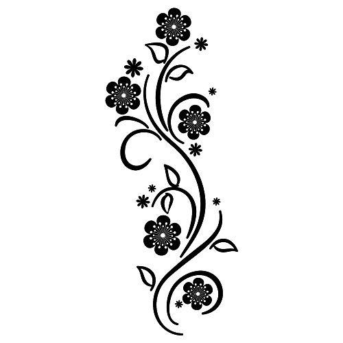 Wandtattoo Blumen Ranke Verzierung Schnörkel   49 Farben   4 Größen/weiß /  35 X 89 Cm