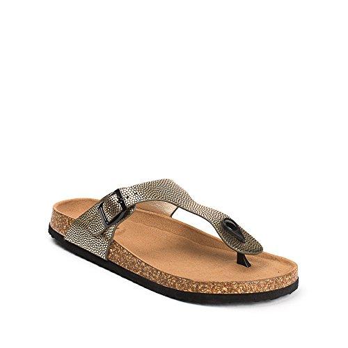Ideal Shoes, Damen Zehentrenner Doree