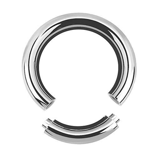 Treuheld®   5mm x 22mm Segmentring Piercing Ring   Chirurgenstahl   Dick   Silber   Intimpiercing für Frau und Mann, Septum, Ohr, Lobe, Nase, PA