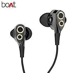 boAt Nirvanaa Deuce Dual Drivers Earphones, HD Clear Sound with Deep Bass Driven sound & In-Line Microphone.