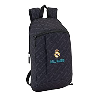 41A%2BxSOzbqL. SS324  - Safta Mini Mochila Day Pack Estamp Real Madrid Black Oficial Uso Diario 220x100x390mm