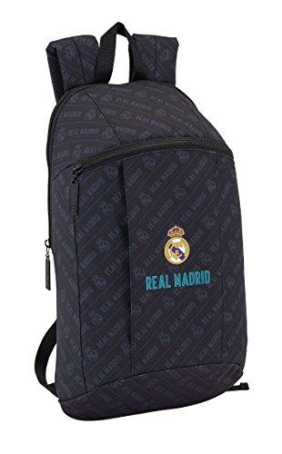 Real Madrid 2018 Mochila tipo casual, 39 cm, 8.5 litros, Negro
