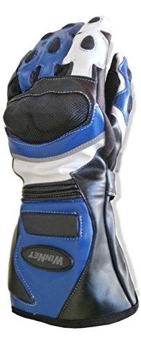 WinNet guanti da per moto in pelle con protezioni pista o st