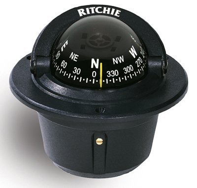 Explorer Marine (Ritchie F-50 Outdoor Mounting Hole Explorer Marine Compass Flush Mount Black by Ritchie)