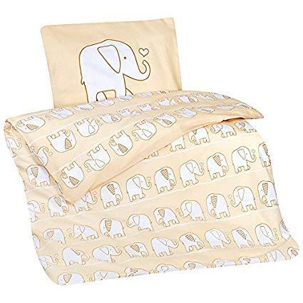 Aminata Kids Kinder-Bettwäsche 100-x-135 cm Zoo-Tier-e Safari Waldtier-e Elefant-en Baby-Bettwäsche aus Baumwolle Renforce Bunte beige gelb Junge-n und Mädchen