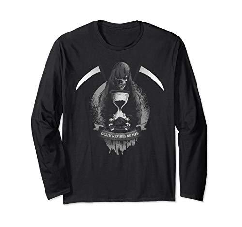 Kostüm Reaper Grim Herren - Lustige Grim Reaper Sense wirklich Scary Totenkopf Halloween Langarmshirt