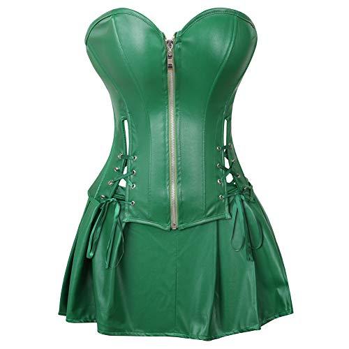 Grebrafan Damen Reißverschluss Korsett Kunstleder Corsage Rock (EUR(36-38) L, (Rock Hulk Halloween Kostüm)
