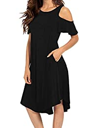 Lazzboy Women Cold Shoulder Solid Short Sleeve O-Neck Pockets Swing Midi Dress
