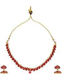 Dancing Girl 1 Gram Gold Jewellery Rani Pink Copper Alloy Necklace Sets Jewellery Sets For Women