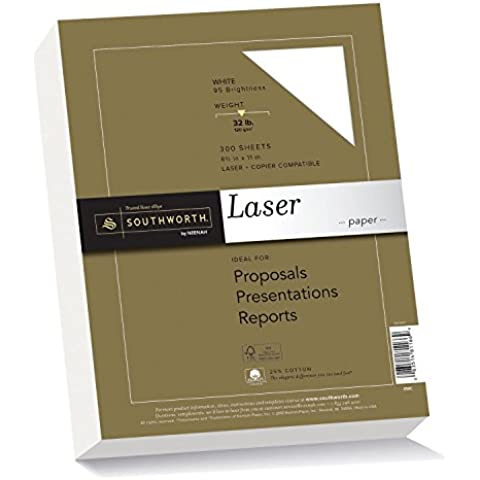 25% Cotton Premium Laser Paper, White 95, 32 lbs., Smooth, 8-1/2 x 11, 300/Pack, Sold as 1 Package