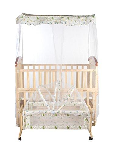 Mee Mee Baby Wooden Cot (With Cradle, Swing & Mosquito Net, Pine Wood)