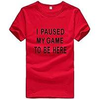 Rabbiter Camiseta Estampada Casual para Hombre Camiseta de algodón de con Cuello en O Tops Deportivos Camiseta de Talla Grande para Adolescentes(Rojo,XXL)