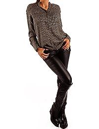 Damen Bluse Tunikabluse Rundhalsausschnitt