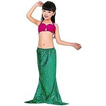 MissFox Niñas 3Pcs Bañador De Sirena Disfraz De Princesa Bikini Beachwear