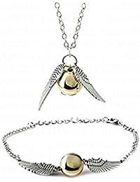 CargoMix© Gold-Infinity-Engels-Flügel-Perlen-Armband und Halskette Set Schmuck