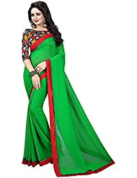 a8e41db334a4e Vishnu Creations Women s Georgette Saree with Blouse Piece Combo (Green