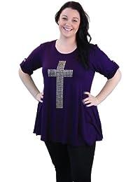Plus Size 3/4 Sleeve Studded Cross Tunic Top