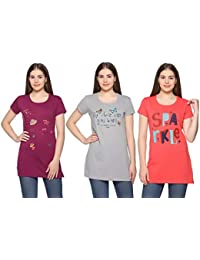 CUPID Women Long TOP   TEES Night Yoga Gym Wear T-Shirt Ladies Top 3 Pc  Combo Offer Pack (Orange Purple… 40b9193ba