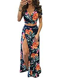 1821eac4be57 Glamaker Women's V Neck Crop Top Split Maxi Dress Set 2 Pieces Print Outfits  Dress