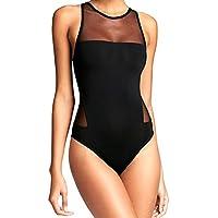 DEELIN Bikini Mujer, Moda Mujer Sexy Malla Siamesa Traje De BañO De Arena Traje De BañO Negro Sexy Gasa Sin Respaldo EláStico Beachwear Monokini Bikini Tanga Traje De BañO