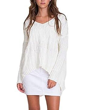 La Mujer Casual Solid V Neck Cross Venda Hueco Fuera Loose Knit Shirt Sweater