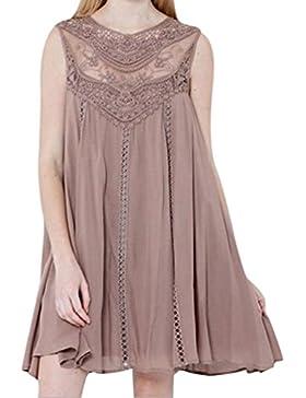 RETUROM Mini vestido sin mangas de la gasa del o-cuello de las costuras del cordón sólido ocasional de las mujeres...