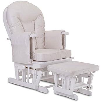 Little Devils Direct Fauteuil Bascule Bois Rocking Chair Beige Allaitement Bébé Mécanisme Verrou & Repose Pied Assorti Planeur chaise