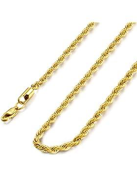 Sailimue Edelstahl 4mm Twist Halskette für Herren Damen Halskette 41-91CM
