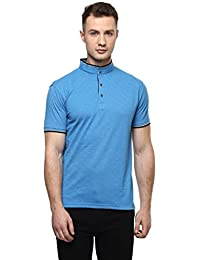 Cayman Blue Solid Regular Fit Polo T-shirts