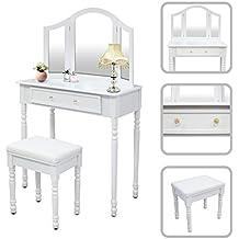 Todeco - Toletta Da Trucco, Tavolino Da Trucco - Materiale: MDF - Dimensione dello specchio: 80,0 x 59,9 cm - 1 cassetto grande, 3 specchi, Bianco
