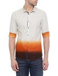 SHOWOFF Mens Orange Printed Casual Shirt