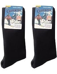 Carpenter - Juego de 2 pares de calcetines altos para hombre, de forro polar térmico