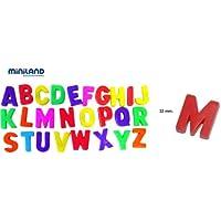 Miniland Abecedario magnético (97912) con Letras mayúsculas y en Tarro (308 Piezas)