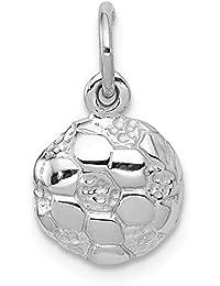 DIAMOND2DEAL INC Colgante de Bola de fútbol de Oro Blanco sólido de 14  Quilates para… 186ca2c37f677